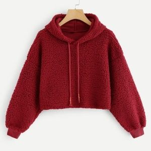 Tops - Fuzzy Red Crop Drawstring Hoodie
